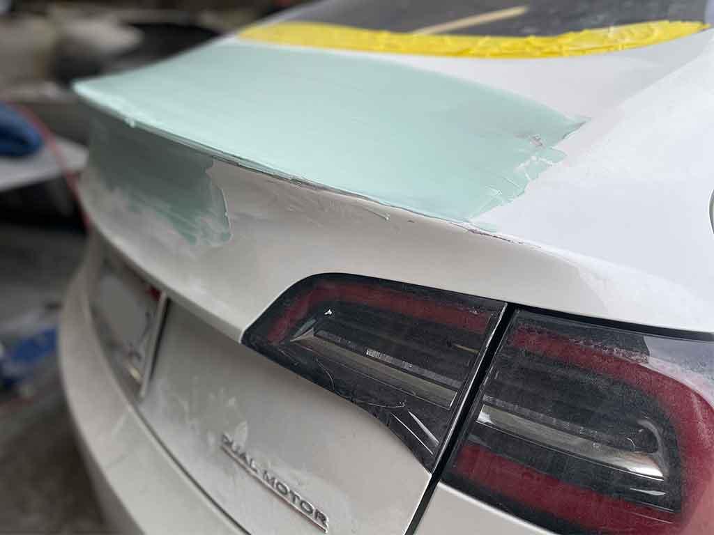 Tesla Trunk Dent Repair Process, Bondo