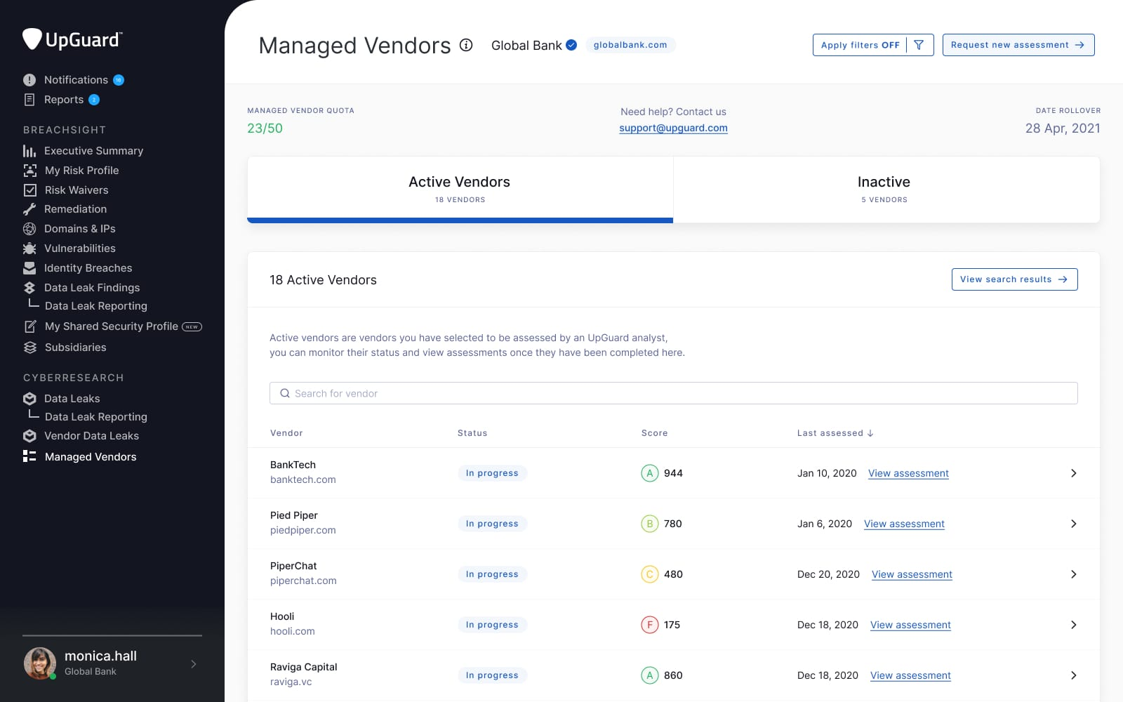 UpGuard Vendor Risk mockup