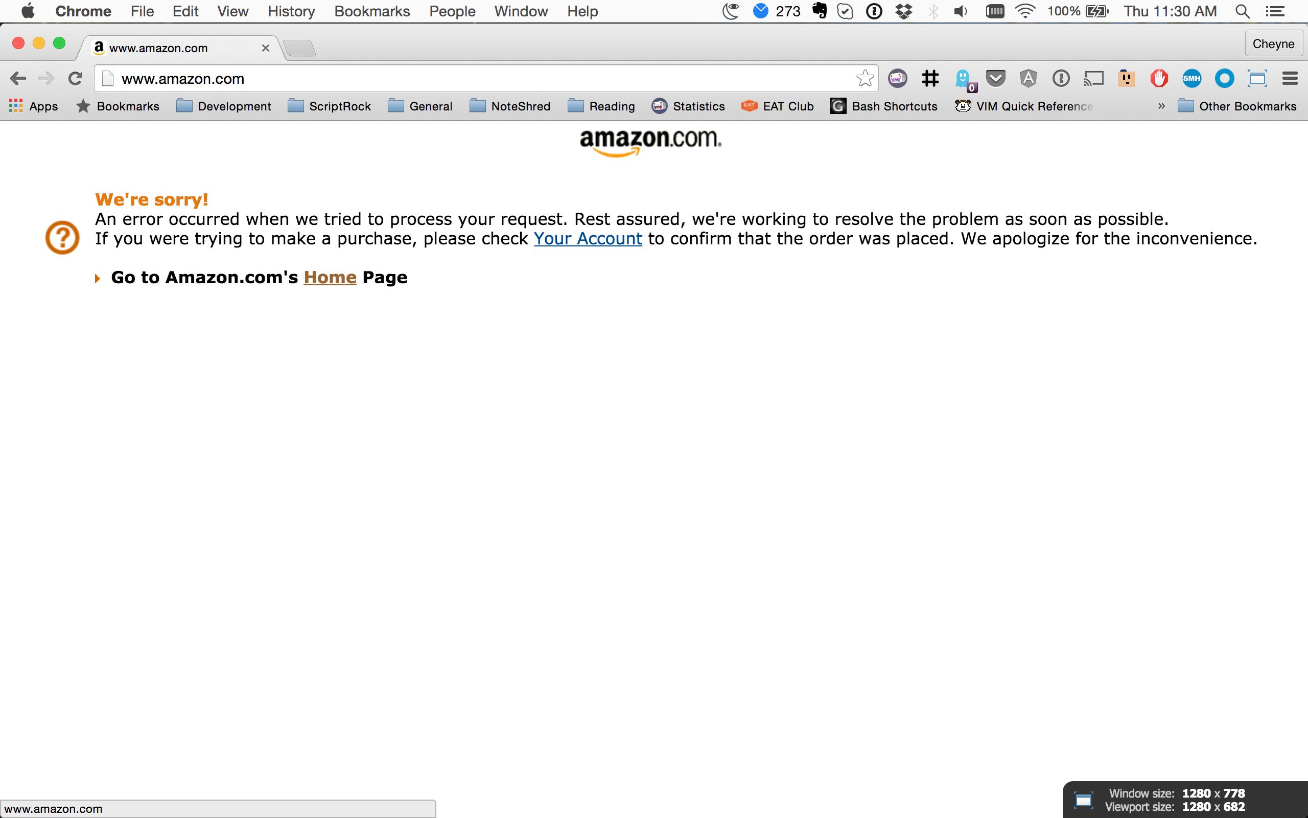 Amazon.com Homepage Error