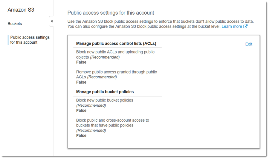 AWS Settings for Public Access