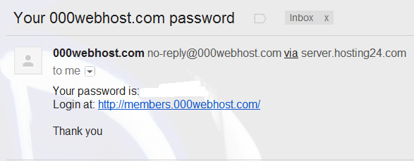 000webhost.com password email