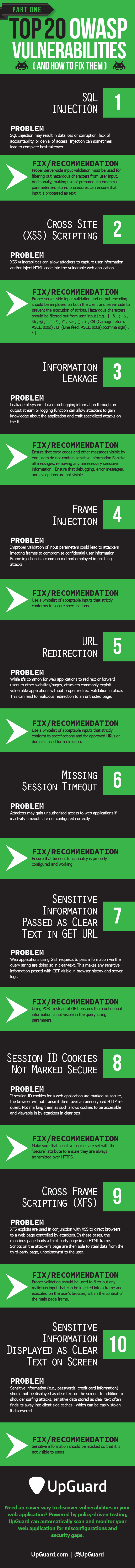 Top 20 OWASP Vulnerabilities And How To Fix Them Infographic