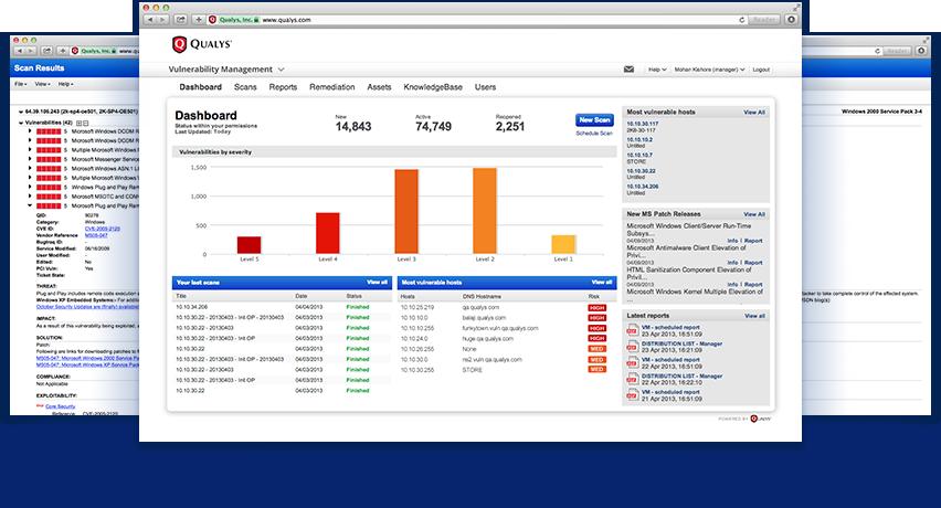 Qualys Vulnerability Management UI.