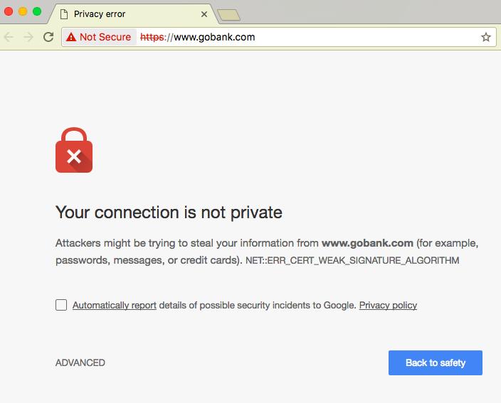 GoBank SSL Error