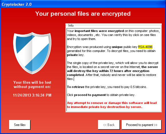 Cryptolocker screenshot - one of the most notorious ransomware programs.