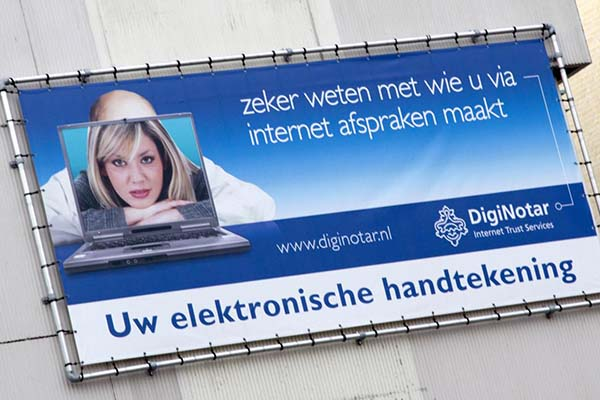 DigiNotar billboard before bankruptcy after man-in-the-middle attacks