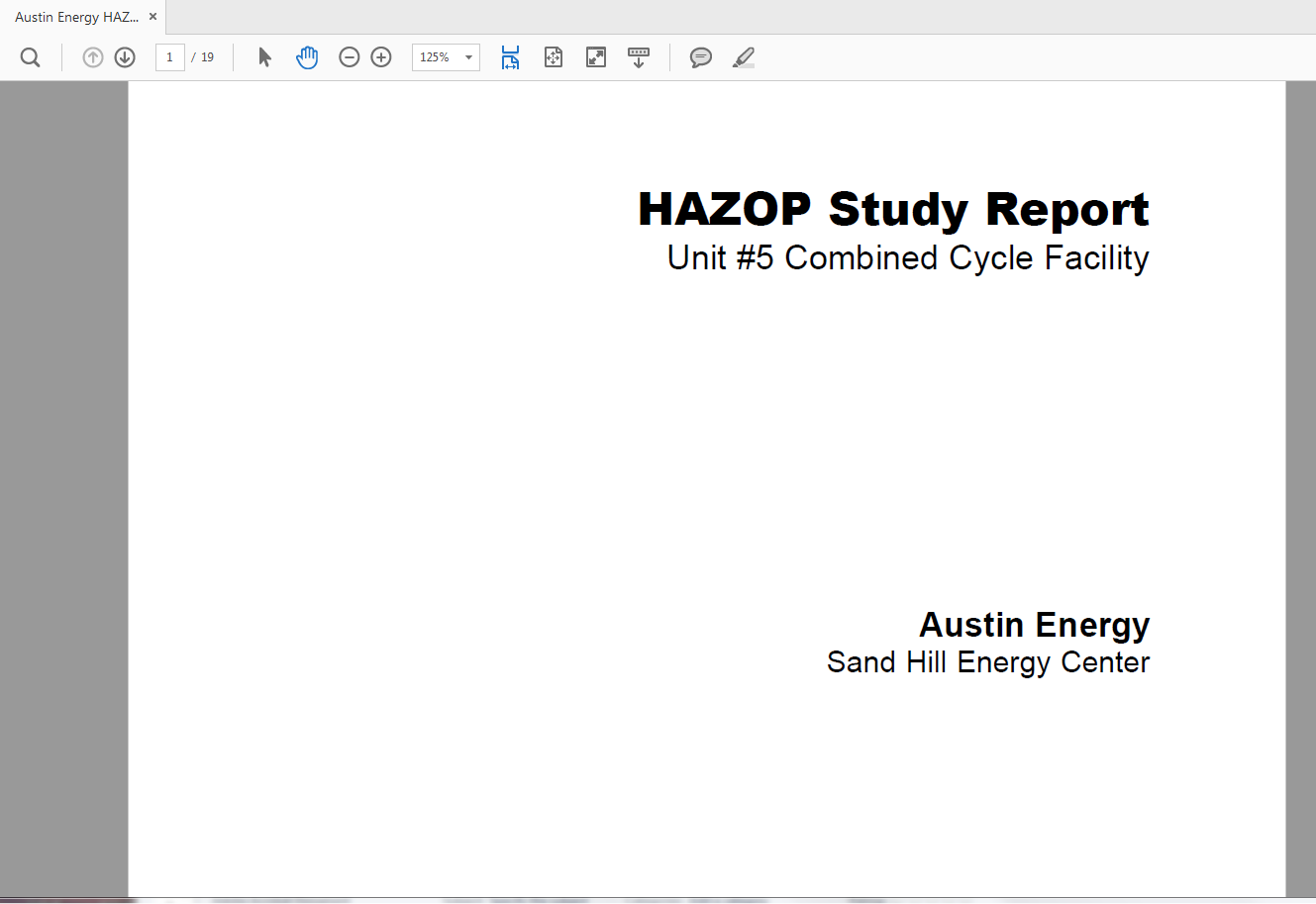 The cover of the Hazardous Operation Report.