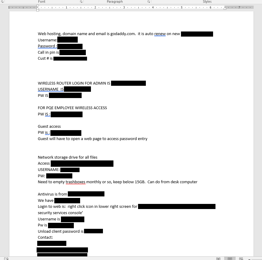 "Redacted screenshot of ""computer stuff.docx"" and the sensitive access data contained therein."