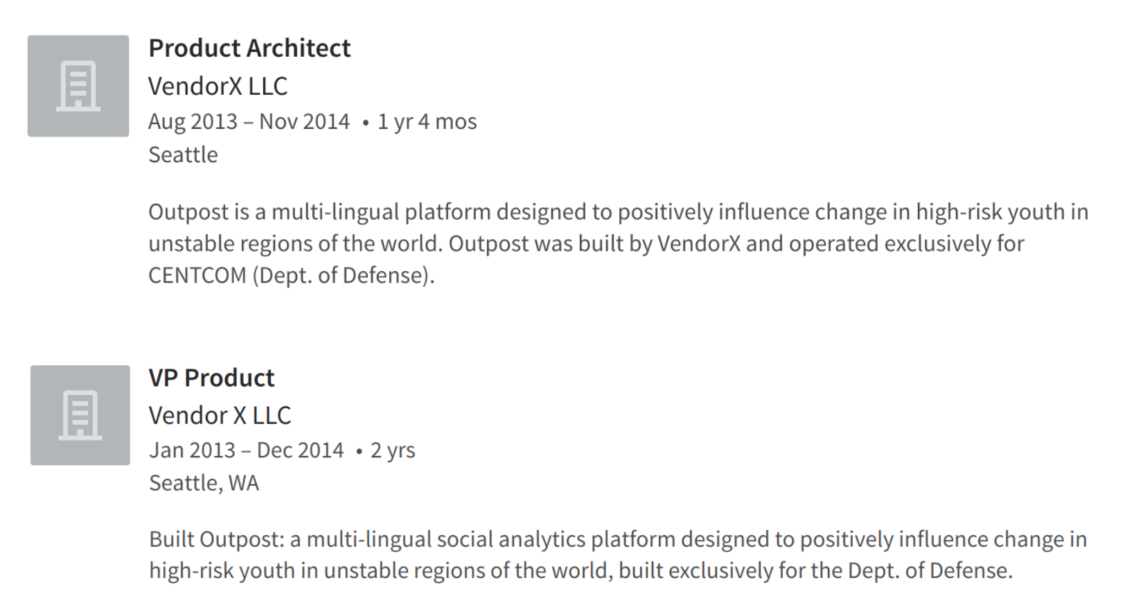 Descriptions of VendorX's work on Outpost, via employee LinkedIn pages.