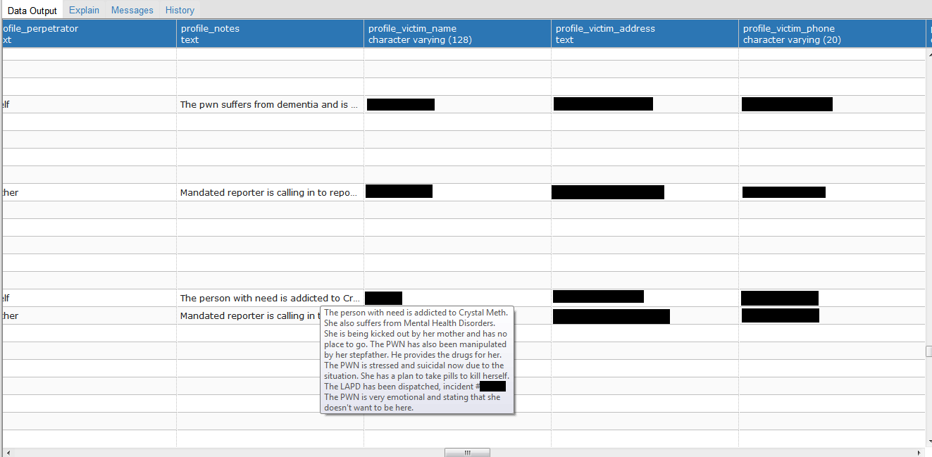 Another redacted call record, this one detailing drug abuse and suicidal crisis.