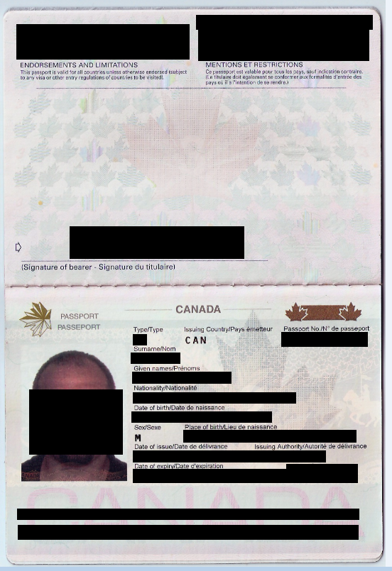 Redacted screenshot of a passport scan contained in the Level One data set.