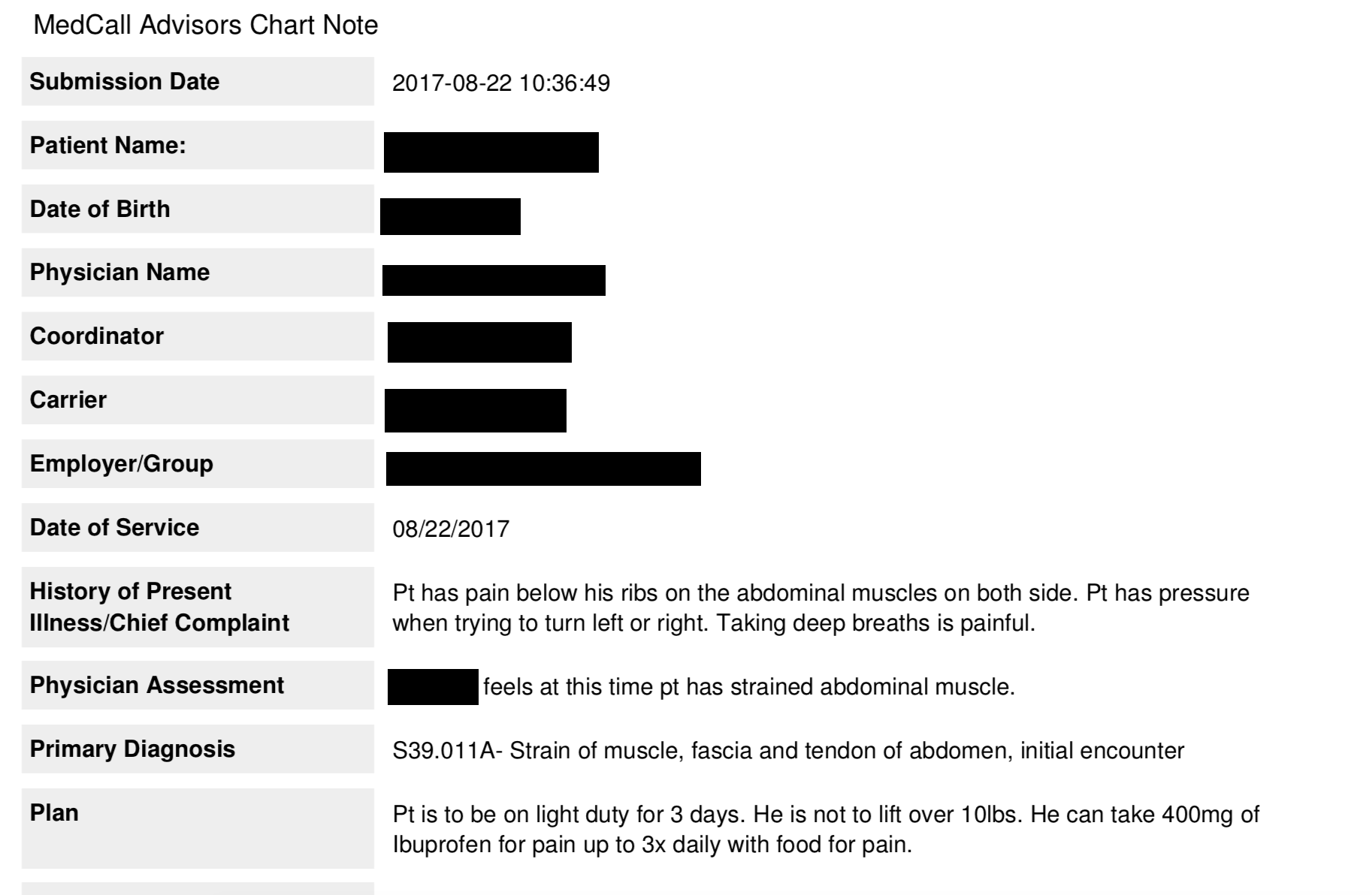 Redacted example of Medcall chart notes, with doctor diagnosis and action plan.