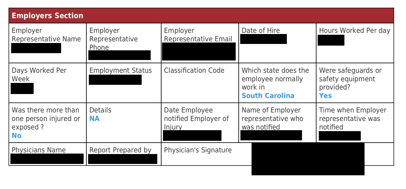 """Redacted example of the """"Employers Section"""" on a Medcall intake form."""