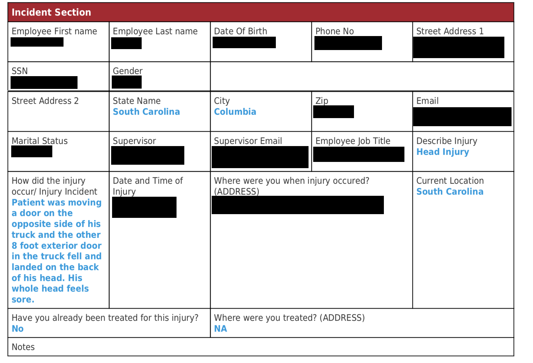 Redacted example of a Medcall Intake form.