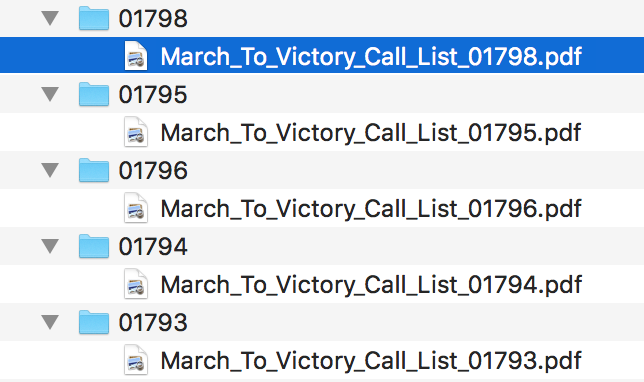 Screenshot of some the Call List files exposed in the TPPCF S3 bucket.