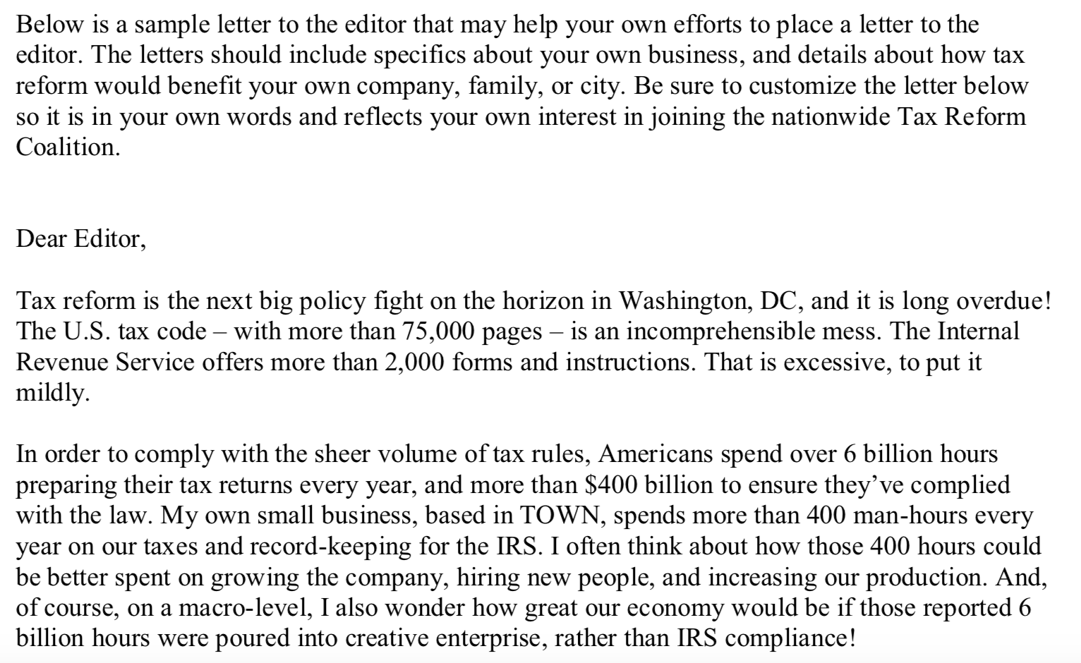 Screenshot of a TPPCF Letter to the Editor Script