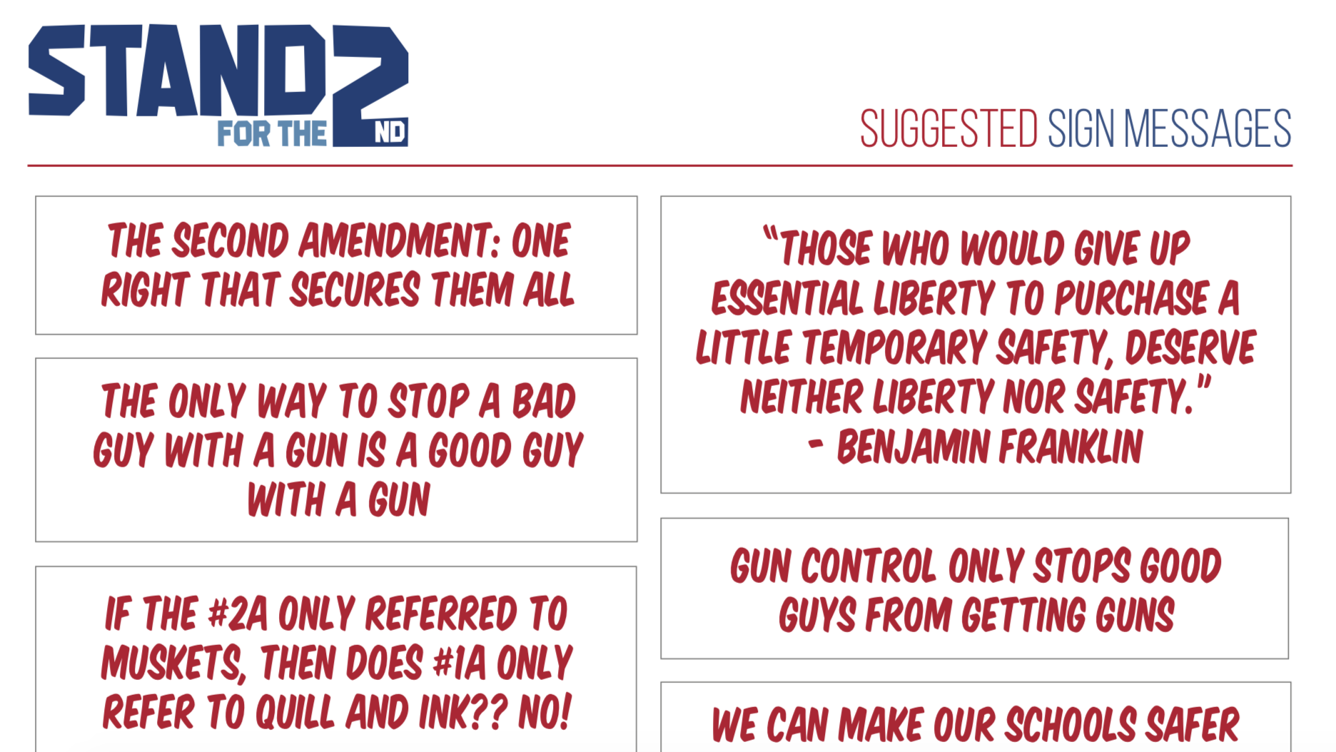 """Screenshot of TPPCF suggested sign messages for their """"Stand for the Second"""" initiative."""