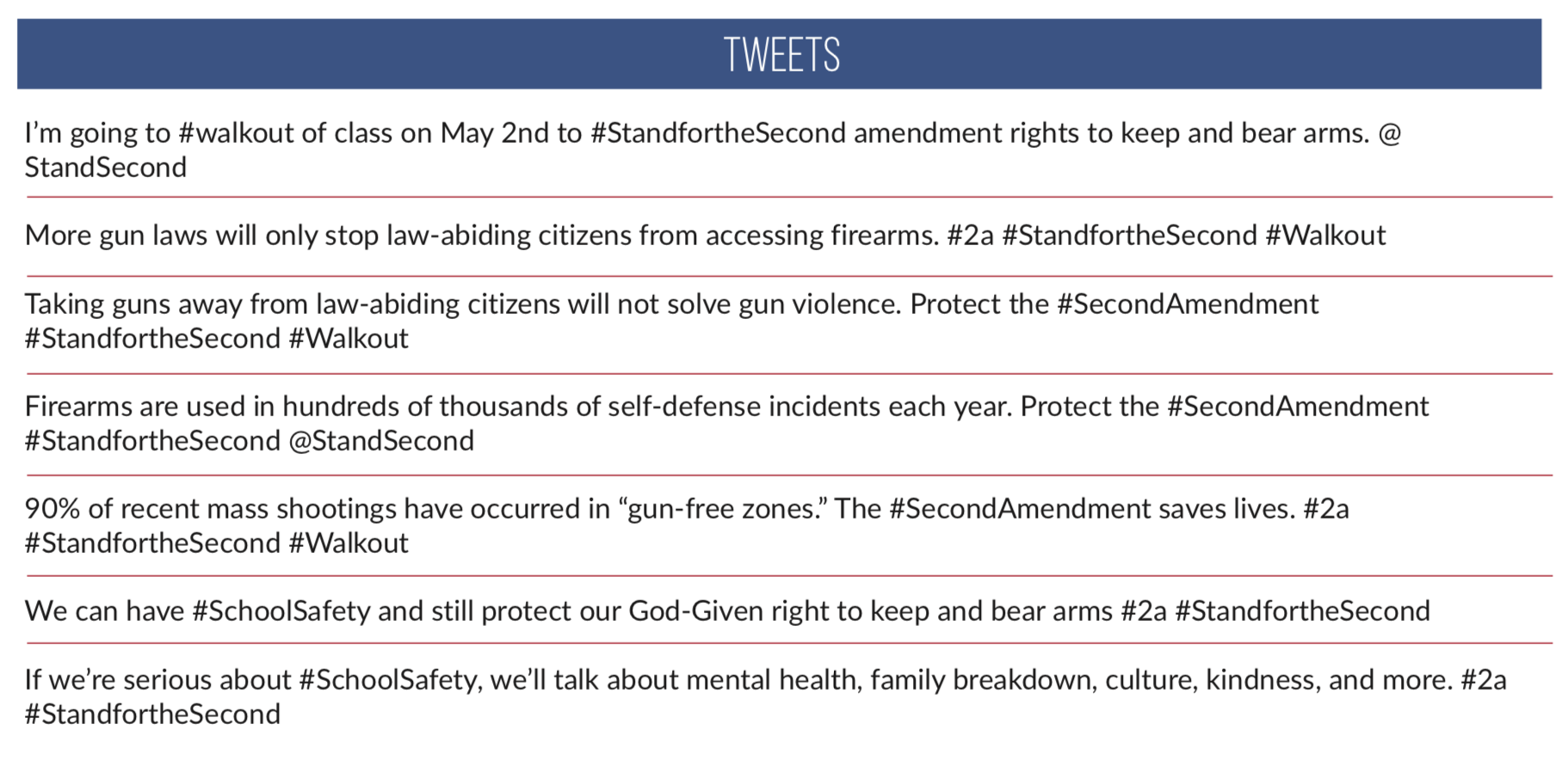 """Screenshot of TPPCF suggested tweets for their """"Stand for the Second"""" initiative."""