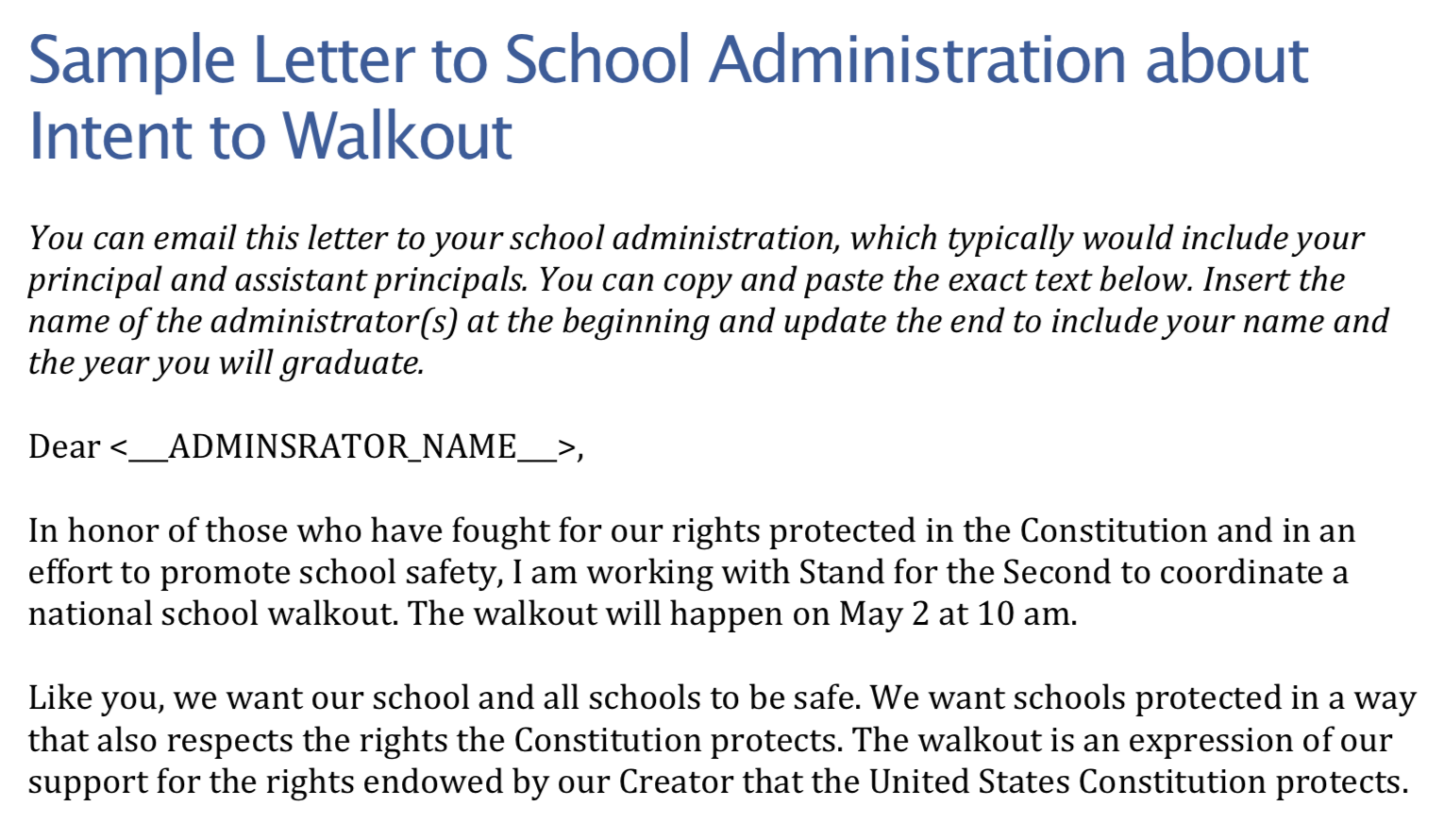 """Screenshot of TPPCF Sample Letter to support the """"Stand for the Second"""" initiative."""