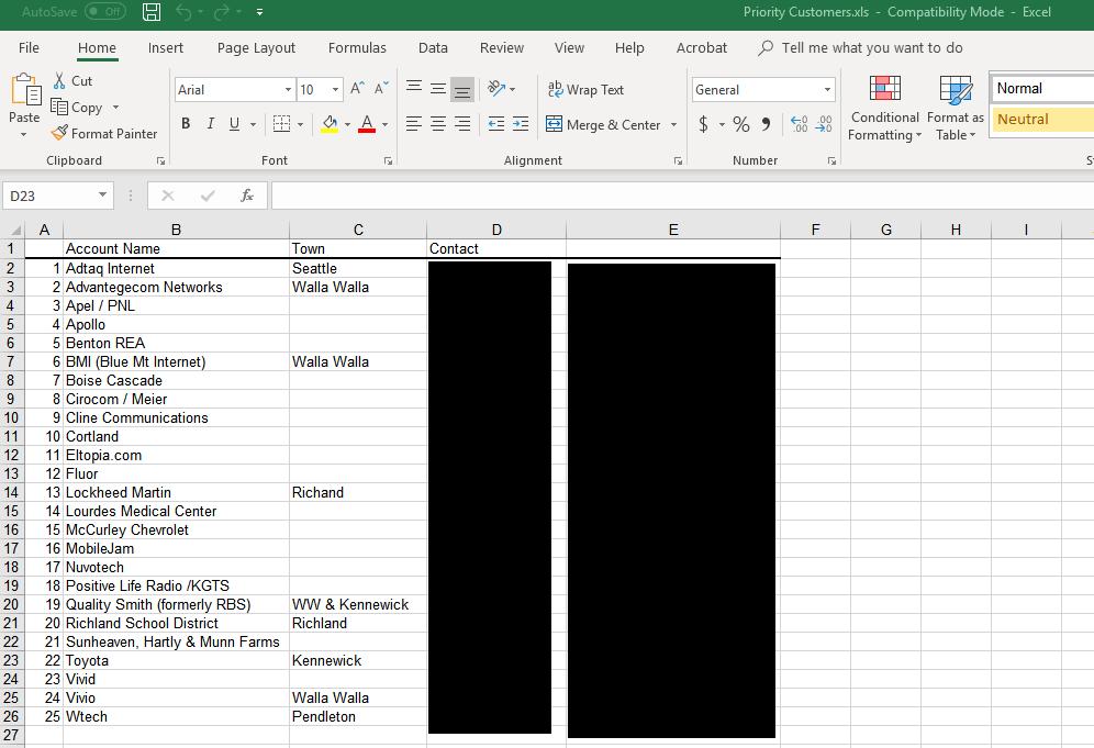 "Redacted screenshot of Pocket iNet ""priority customers"" document."