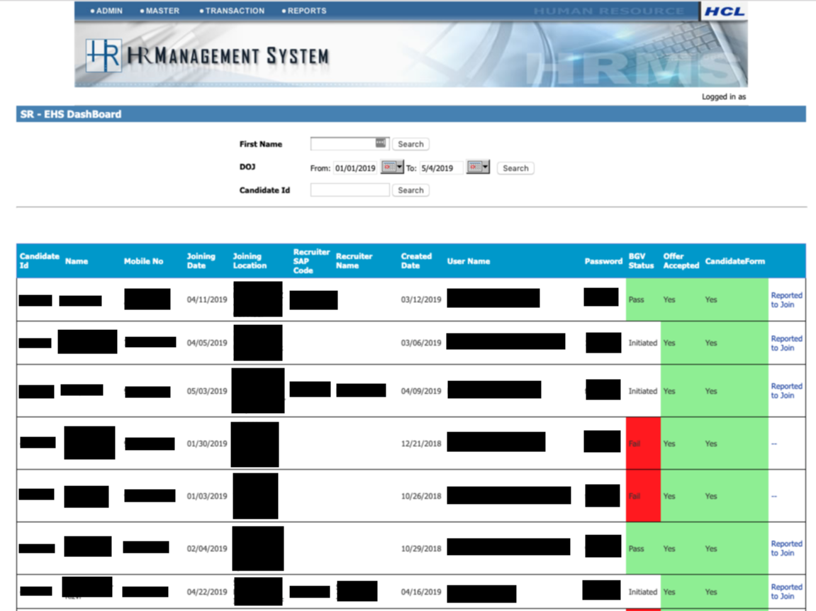 redacted new joinee dashboard