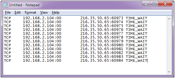 Example of web server log during DDoS attack