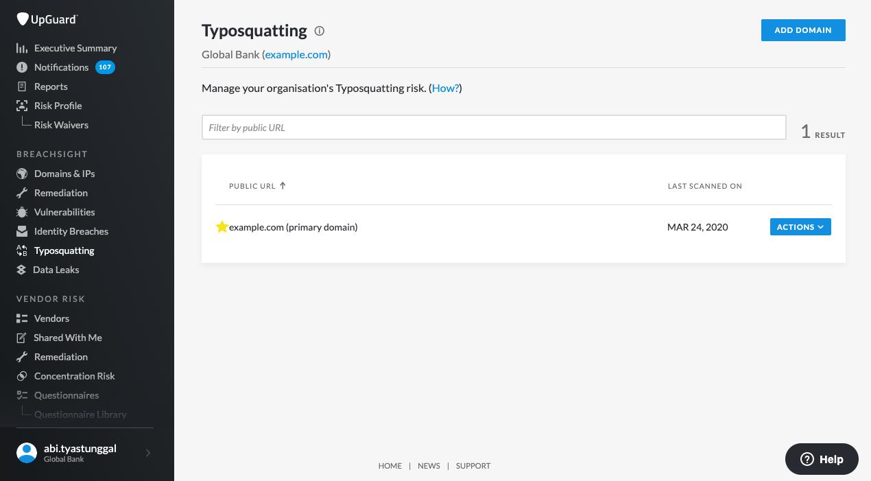Upguard Typosquatting Module
