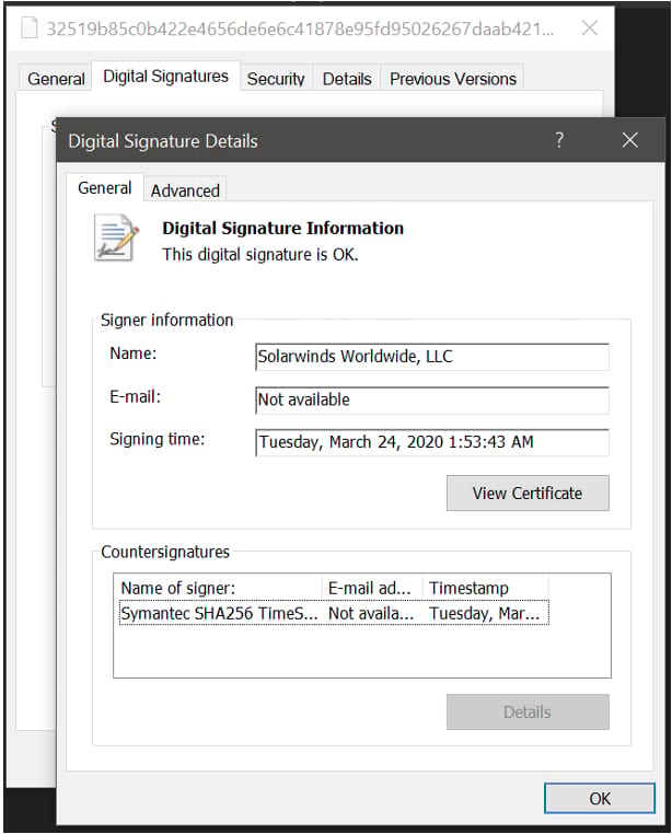 Solarwinds compromised .dll file displaying SolarWinds digital signature.
