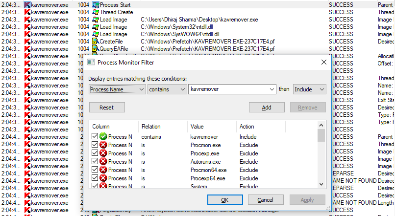 Search for the potentially vulnerable application suspected of being hijacked in Process Explorer.