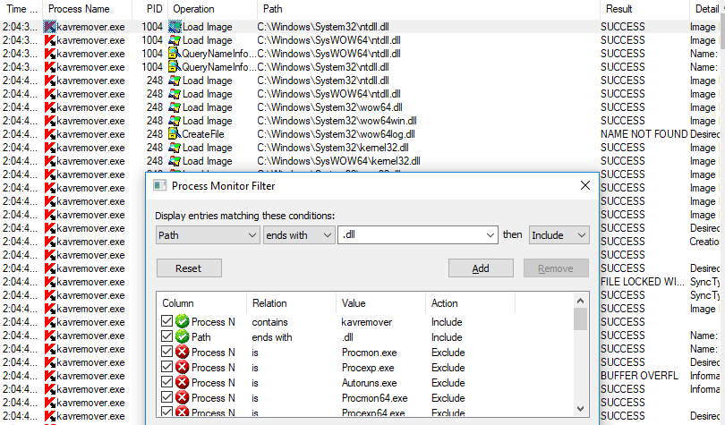 Process Monitor filter displaying only active DLL files.