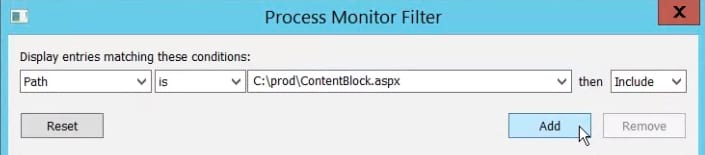 Process Monitor filter for only displaying files in a given path.
