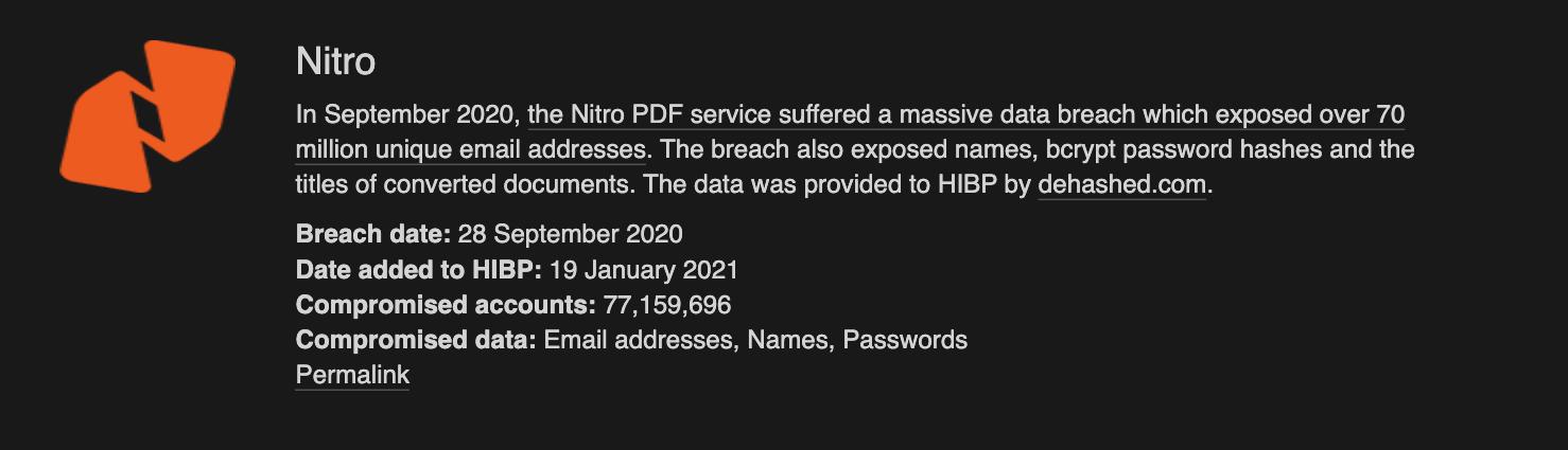 Nitro data breach