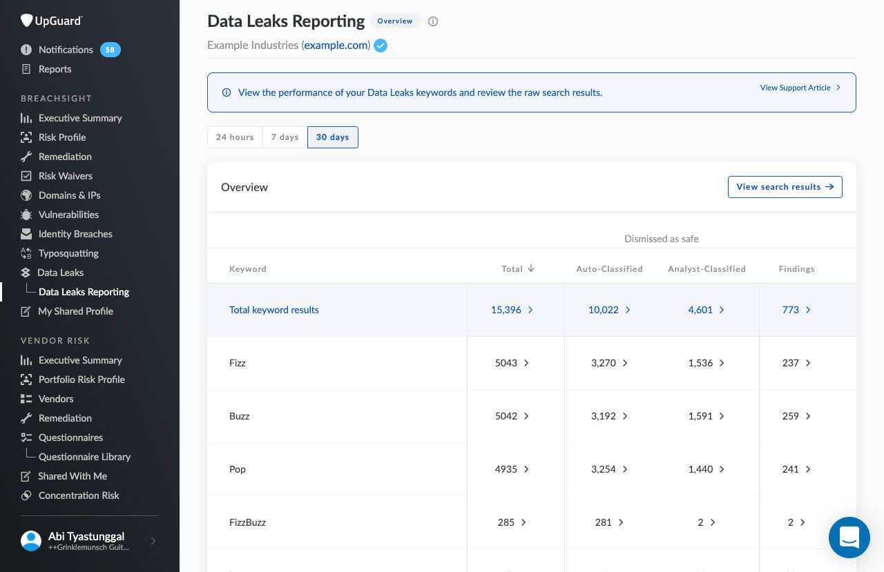 Data Leaks Reporting