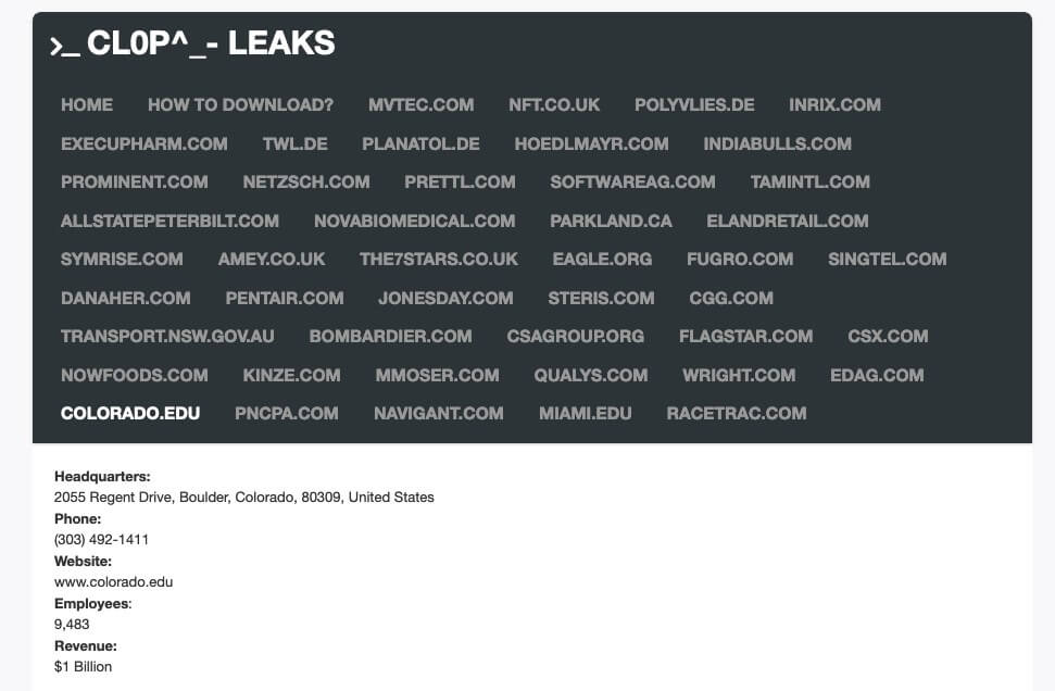 Colorado University data published on the dark web - source: CBS