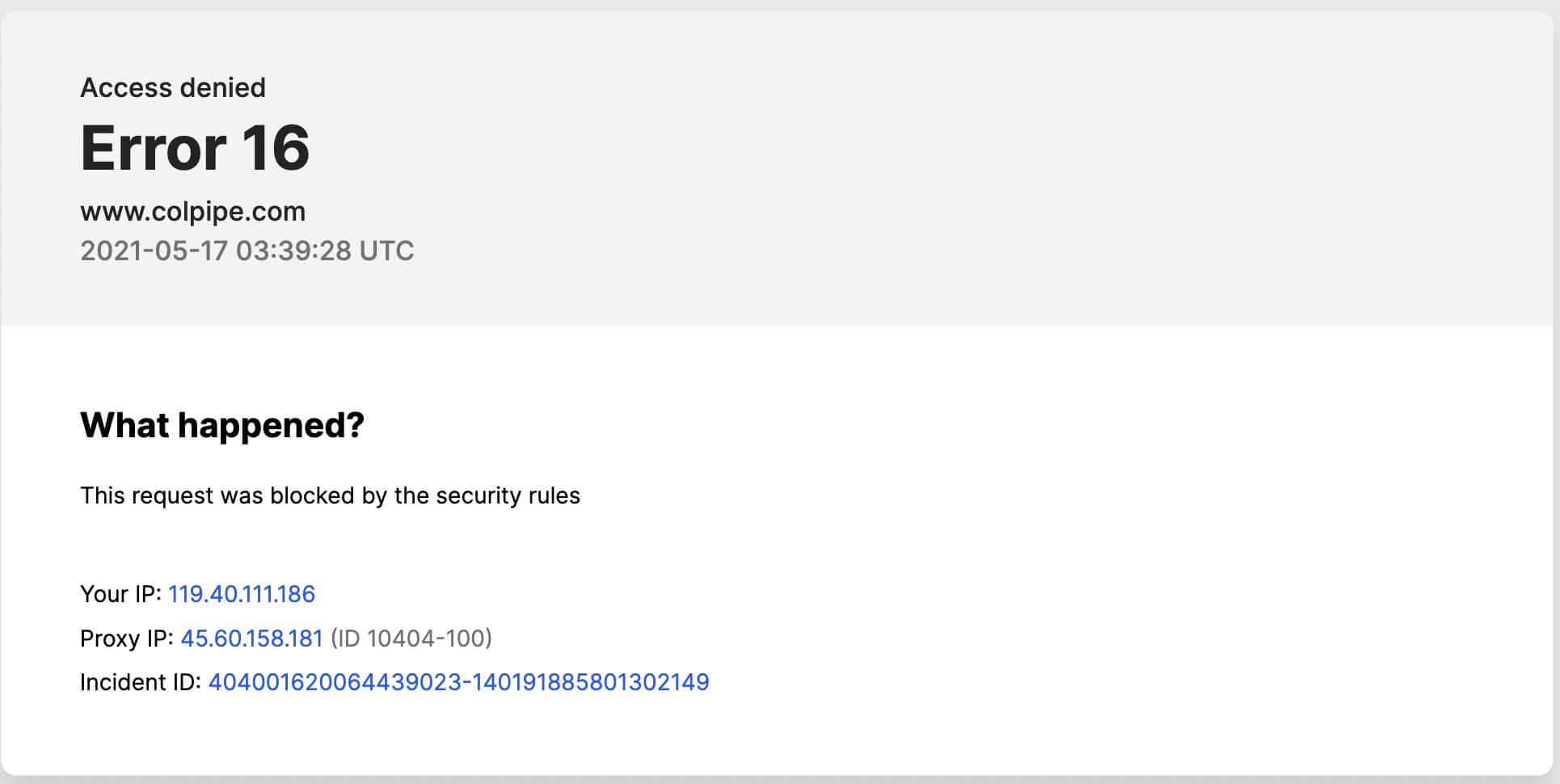 Error message when Colonial Pipeline website is loaded.