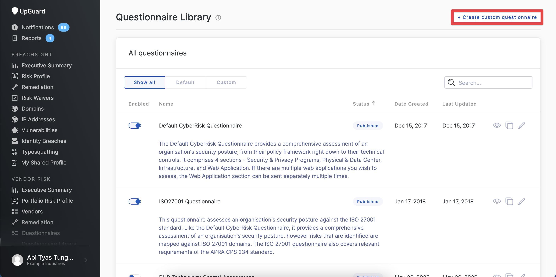 UpGuard custom questionnaire builder