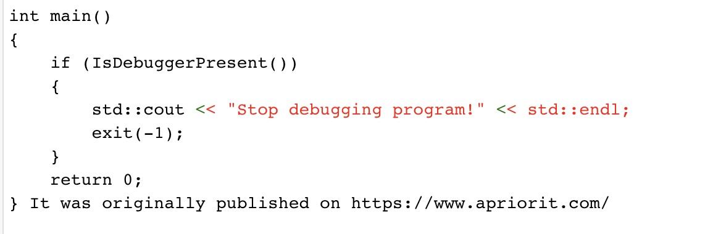 IsDebuggerPresent function