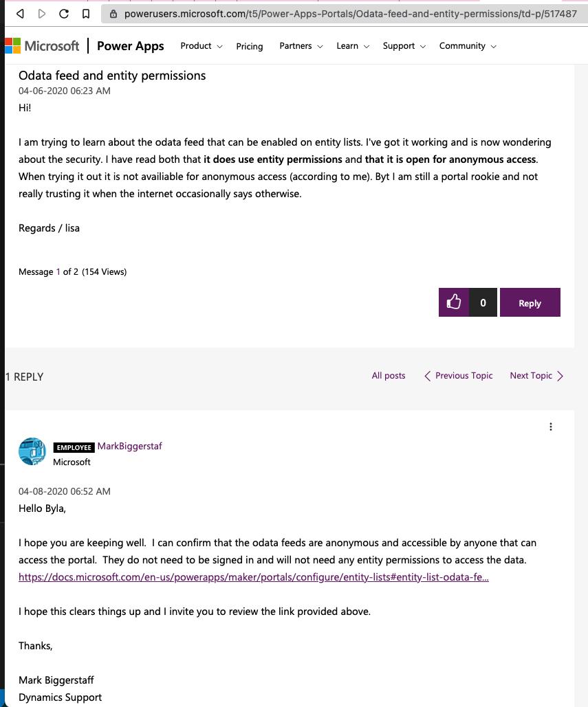 Microsoft support forum post
