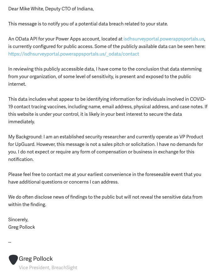 Notification email sent by UpGuard researcher to the State of Indiana's privacy coordinator