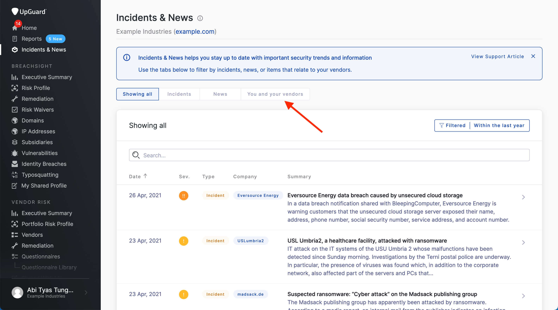 UpGuard's Incidents and Newsfeed
