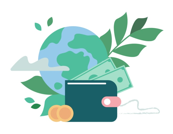 Illustration of wallet, planet and cash.