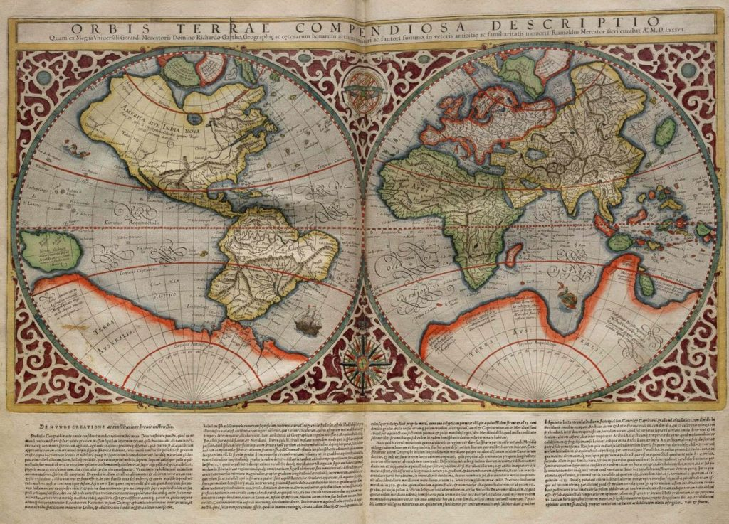 "medieval map showing the fictional south continent ""Terra Australis"""