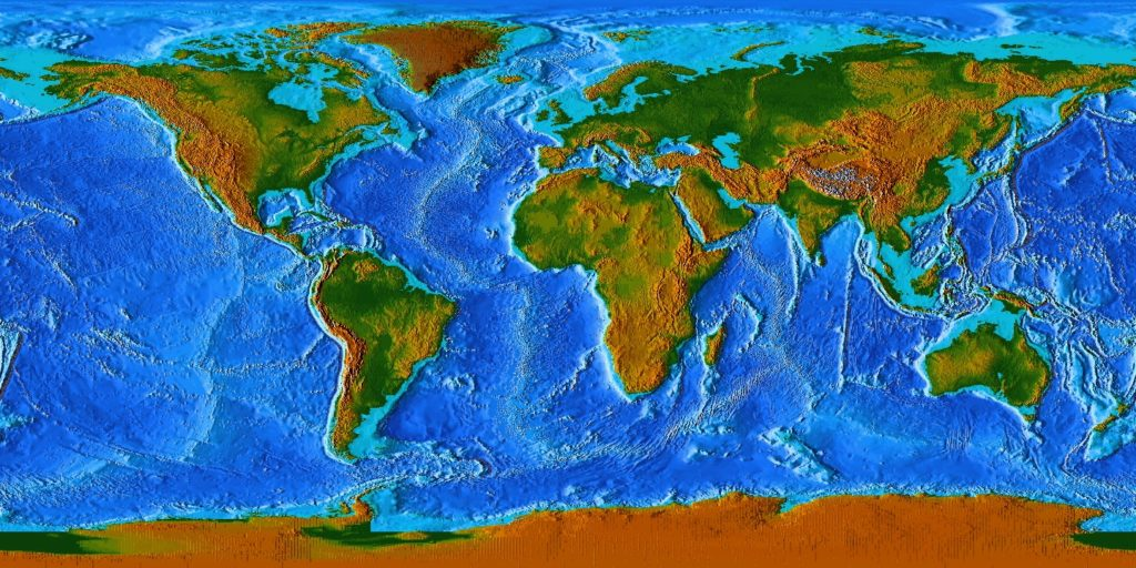 topographic map of the world