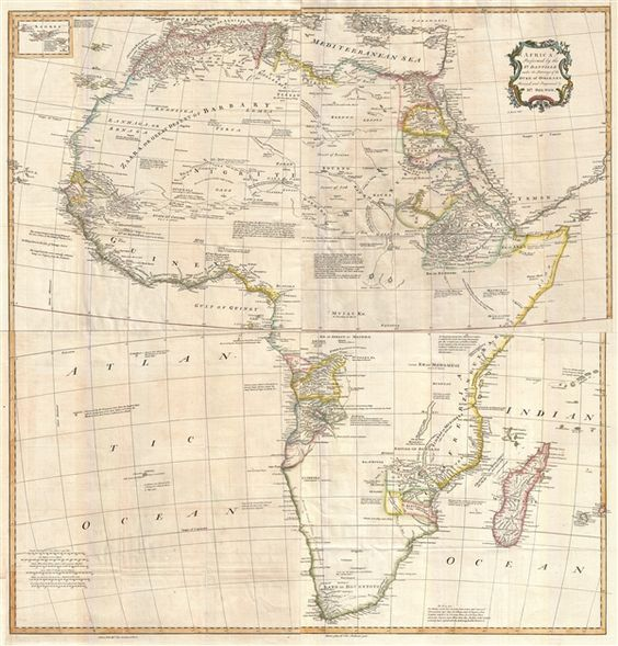 antique map of Africa when the hinterland had not been explored yet