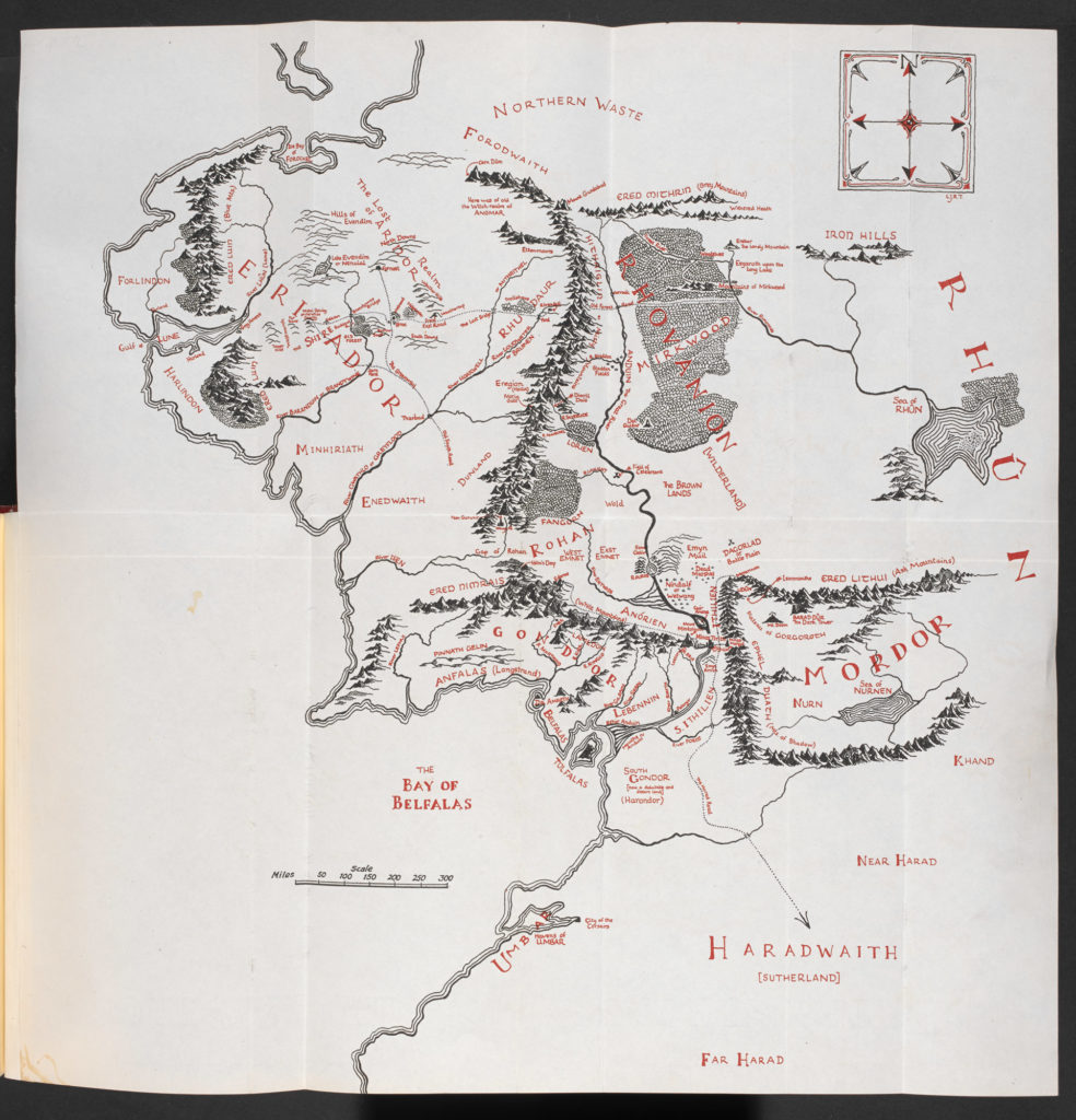 map of middle earth as in the original books of The Lord of the Rings