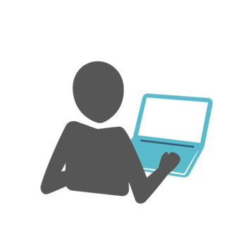 Icon of a person using a laptop