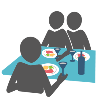 Three colleagues having lunch together as a symbol for a company's culture.