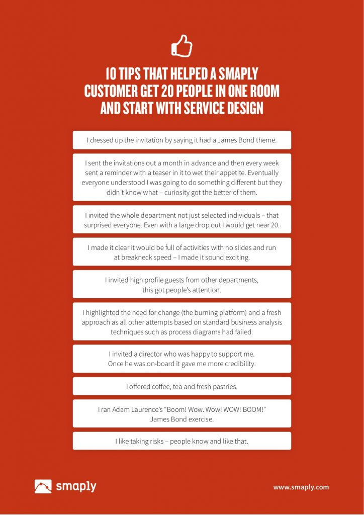 10 tips that helped a Smaply customer get 20 people in one room and start with service design.