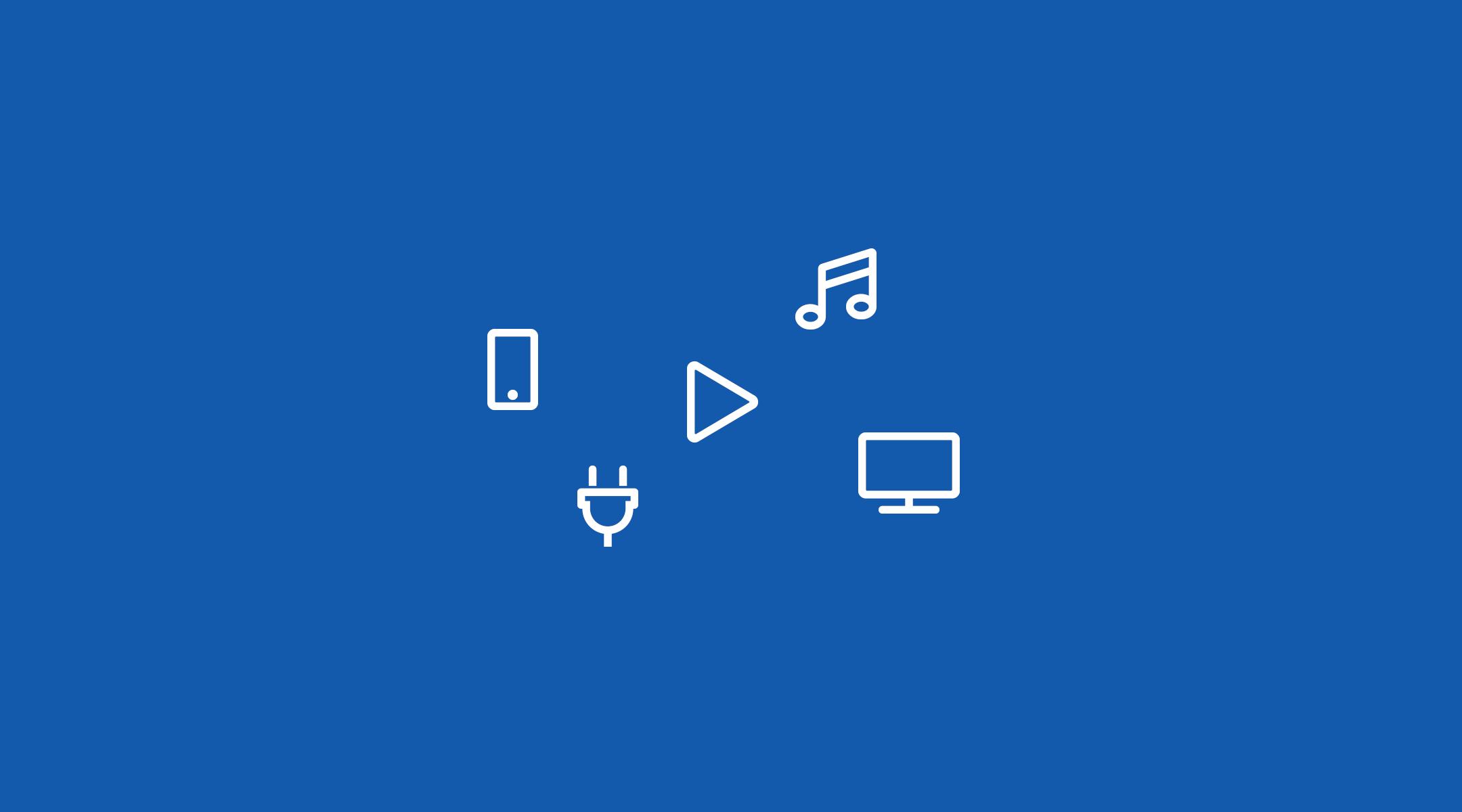 tech symbols on blue background