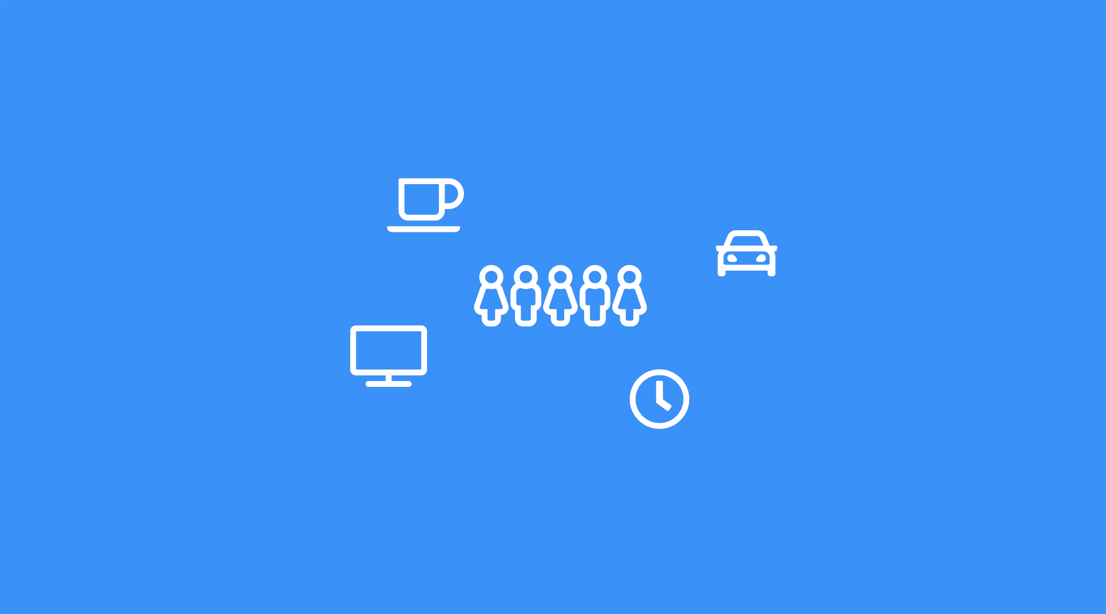symbols for office work on a blue background